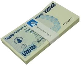Zimbabwe 5 Million Dollars Bearer Cheque X 100 Pieces (PCS),2008,P-54,UN... - $999.99