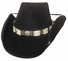 Bullhide Lakota Wool Cowboy Hat Pinchfront Crown Concho Barrel Beads Black - $79.00