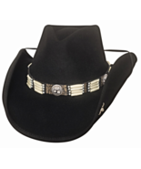 Bullhide Lakota Wool Cowboy Hat Pinchfront Crown Concho Barrel Beads Black - €75,91 EUR