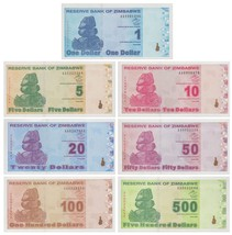 Zimbabwe Revalued Dollar Full Set, 2009, UNC, Post 100 Trillion, 7 Piece... - $19.99