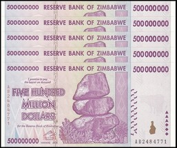 Zimbabwe 500 Million Dollars X 5 Pieces (PCS), AB/2008, P-82,UNC,50&100 ... - $289.99