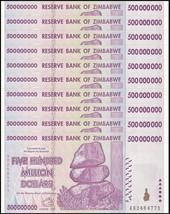 Zimbabwe 500 Million Dollars X 10 Pieces (PCS), AB/2008,P-82,UNC,50&100 ... - $545.99