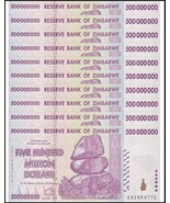 Zimbabwe 500 Million Dollars X 10 Pieces, AB/2008,UNC,50 & 100 Trillion ... - $507.95 CAD
