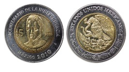 Mexico 5 Pesos,2010,KM#929,Mint,Bicentenary Independence Coin-Guadalupe ... - $1.99