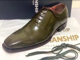 Handmade Men's Green Leather Lace Up Dress/Formal Oxford Shoes image 5