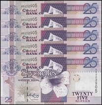Seychelles 25 Rupees X 5 Pieces (PCS), 2005, P-37b, UNC - $17.99