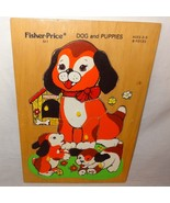 Dog Puppies Puzzle Wooden Tray Jigsaw Fisher Price Age 2 to 5 Peek Pick ... - $10.89