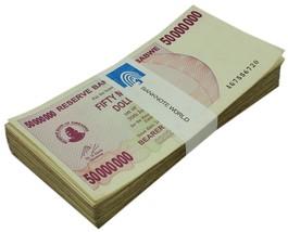 Zimbabwe 50 Million Dollars X 50 Pieces (PCS), 2008, P-57, USED, Half Bu... - $47.49