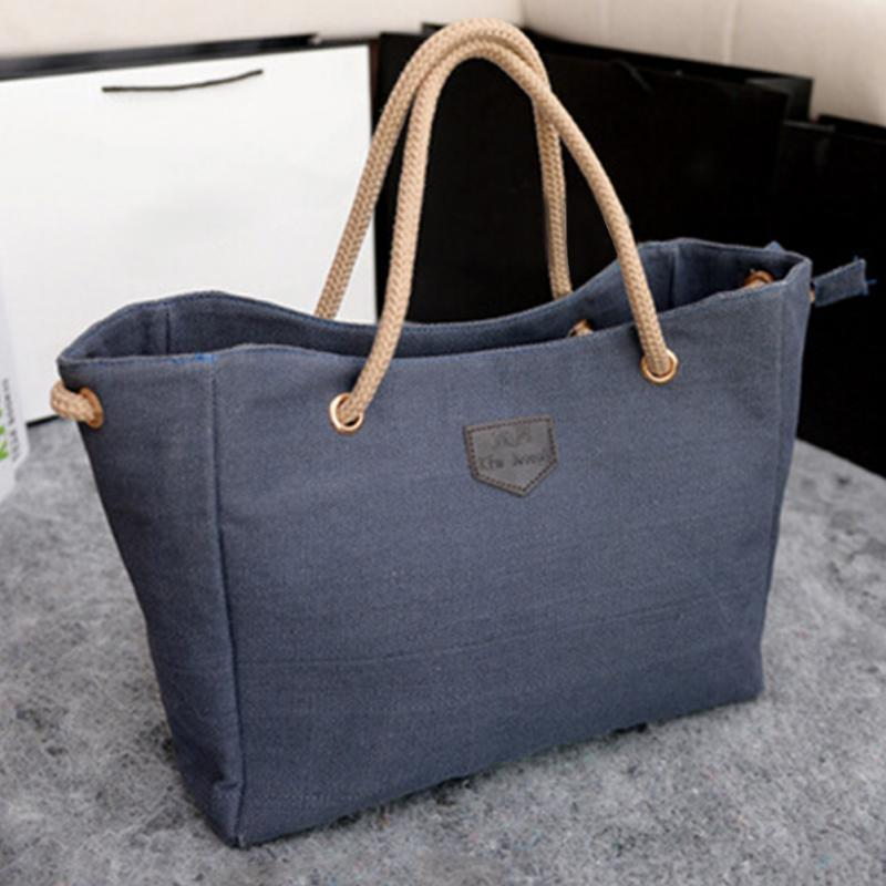 Mmer canvas shopper bag pure color tote women ladies single shoulder bag casual shopping handbag