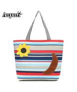 Of women handbags stripe canvas lady shoulder bag flower banana striped beach shopping thumbtall