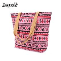 Women Canvas Handbag Tribe Totem Zipper Casual Retro Tote Beach National... - $22.81