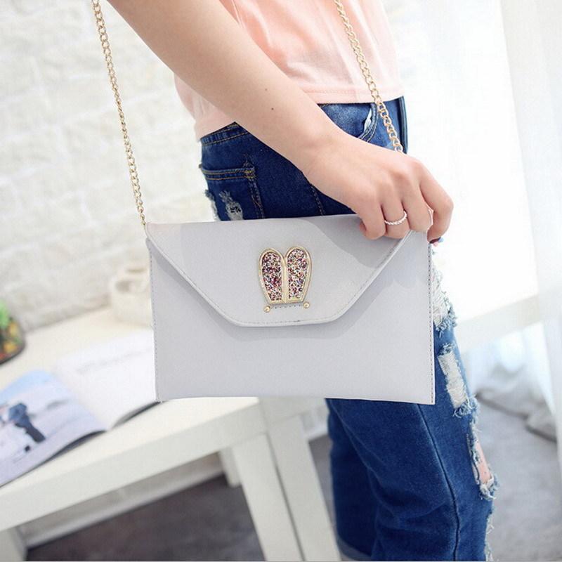 Adies leather envelope clutch rabbit ear crossbody messenger bag sling hasp shoulder bag handbag