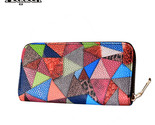 And design avant garde leather long popular purses lady triangle patchwork pattern thumb155 crop