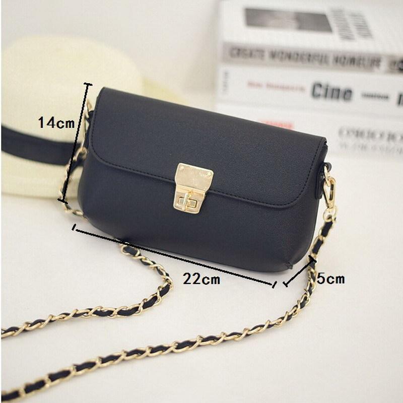 Men flap leather handbag purse casual lock chains shoulder messenger bag cover hasp for teenager