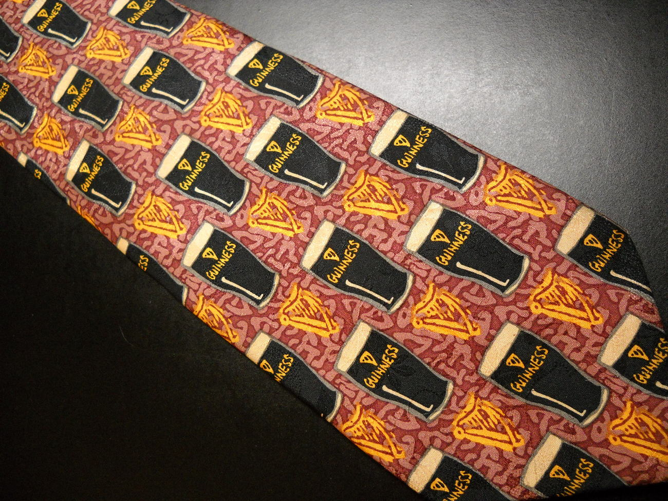 Guinness Mens Dress Neck Tie Hand Made Pure Silk by Simone Walsh Harps and Pints