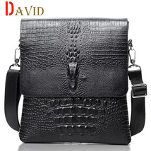 Men messenger bags Crocodile pattern casual travel bag leather shoulder ... - $32.29