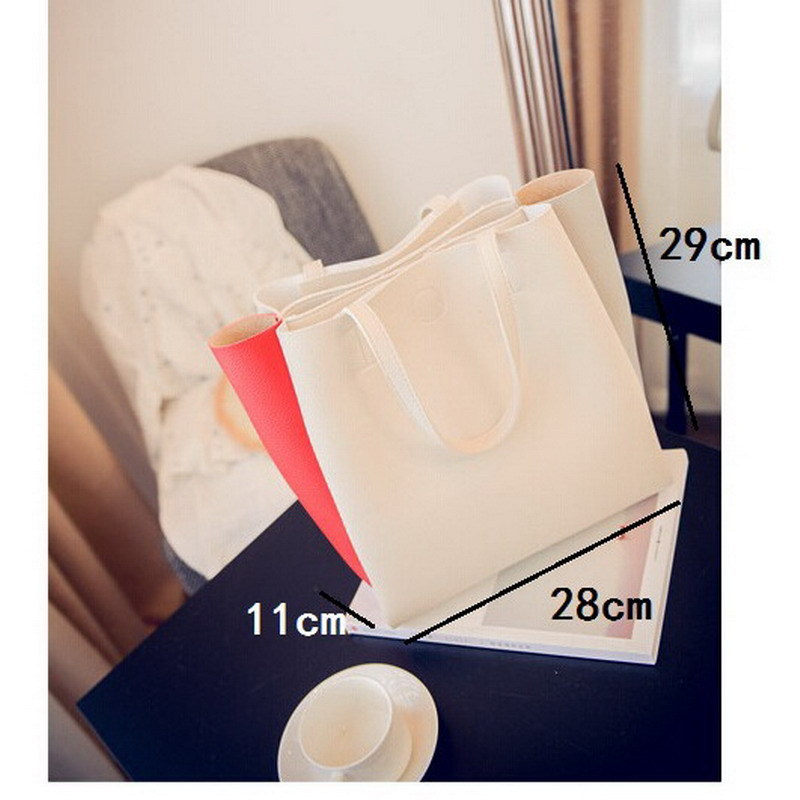 ladies top handle tote simple shoulder shopping bag leather women large capacity handbag zipper
