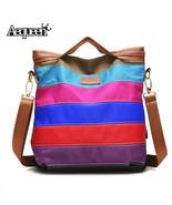 Erproof zipper contrast color rainbow stripe shoulder bags casual crossbody totes high thumbtall