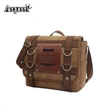 Men Canvas Crossbody Bags Patchwork Messenger Shoulder Bag Briefcase Sat... - $84.17