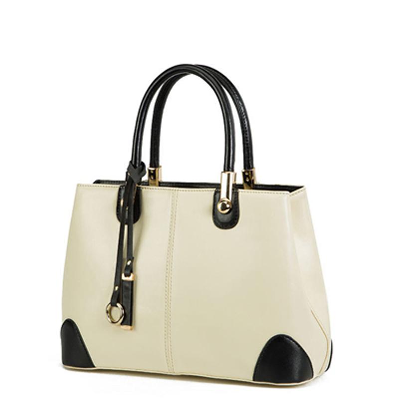 Women Handbag Black and white stitching commuter women leather handbags Messenge