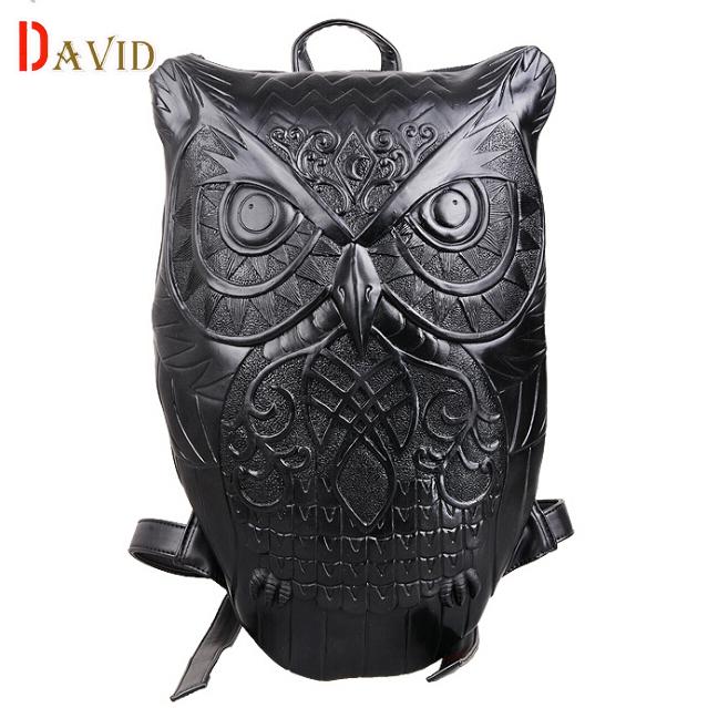 Used, 3D men black leather backpack Owl bags travel bag mens backpack school bag for t for sale  USA