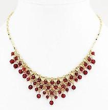Lia Sophia Garnet & Gold Toned Glass Beaded Nec... - $14.00