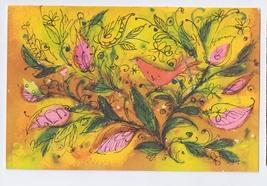 Hallmark Art Postcard 1971 Bird and Leaves Design - $4.99