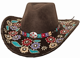 Bullhide Country Love Song Wool Cowgirl Hat Decorated Brim Rivets Concho Brown - £84.12 GBP