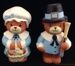 Vtg Enesco Pilgrim Bears Figural Salt & Pepper Shakers Thanksgiving Unus... - $14.79