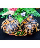 Peru Folk Art Gourds Pair Hand Carved Etched Pe... - $19.95