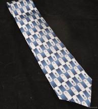 Pierre Cardin Silk Neck Tie Blue White Diamonds Geometric Wide Executive Fr Shp - $19.74
