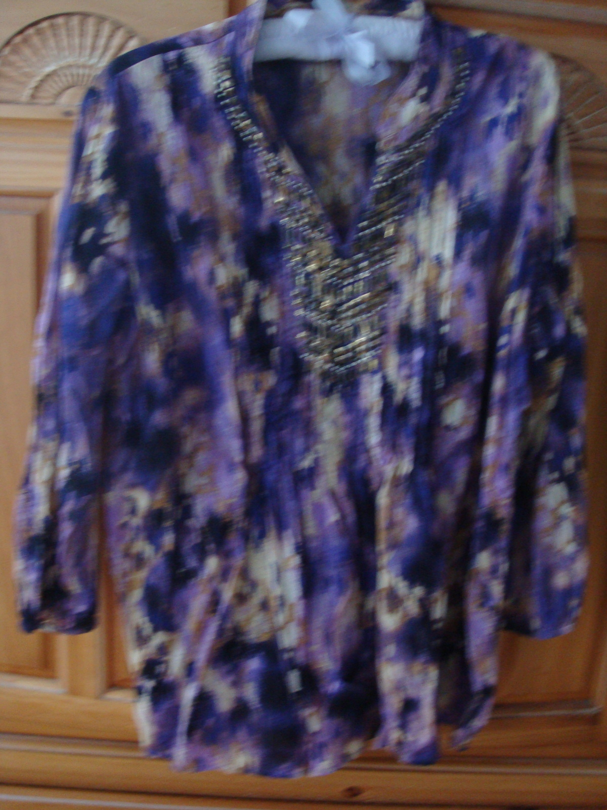 Women's Purple Print Beaded Blouse Size 8 by JM Collection