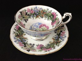 Paragon Seasonal Greetings Cup & Saucer England Fine Bone China Flowers Berries - $49.44