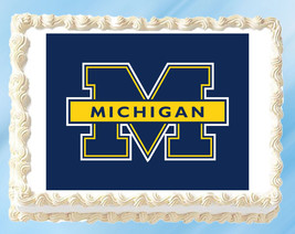Michigan Wolverines Edible Image Topper Cupcake Cake Frosting 1/4 Sheet 8.5 x 11 - $11.75