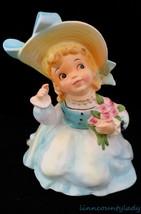 Vtg Enesco Pretty Girl Planter Head Vase Combo Roses Blue Dress Mint FR SHP - $49.44