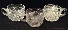 Lot of 3 EAPG Glass Punch Cups Whirling Star Broken Arches Diamond Dbl Fan Craft - $14.79