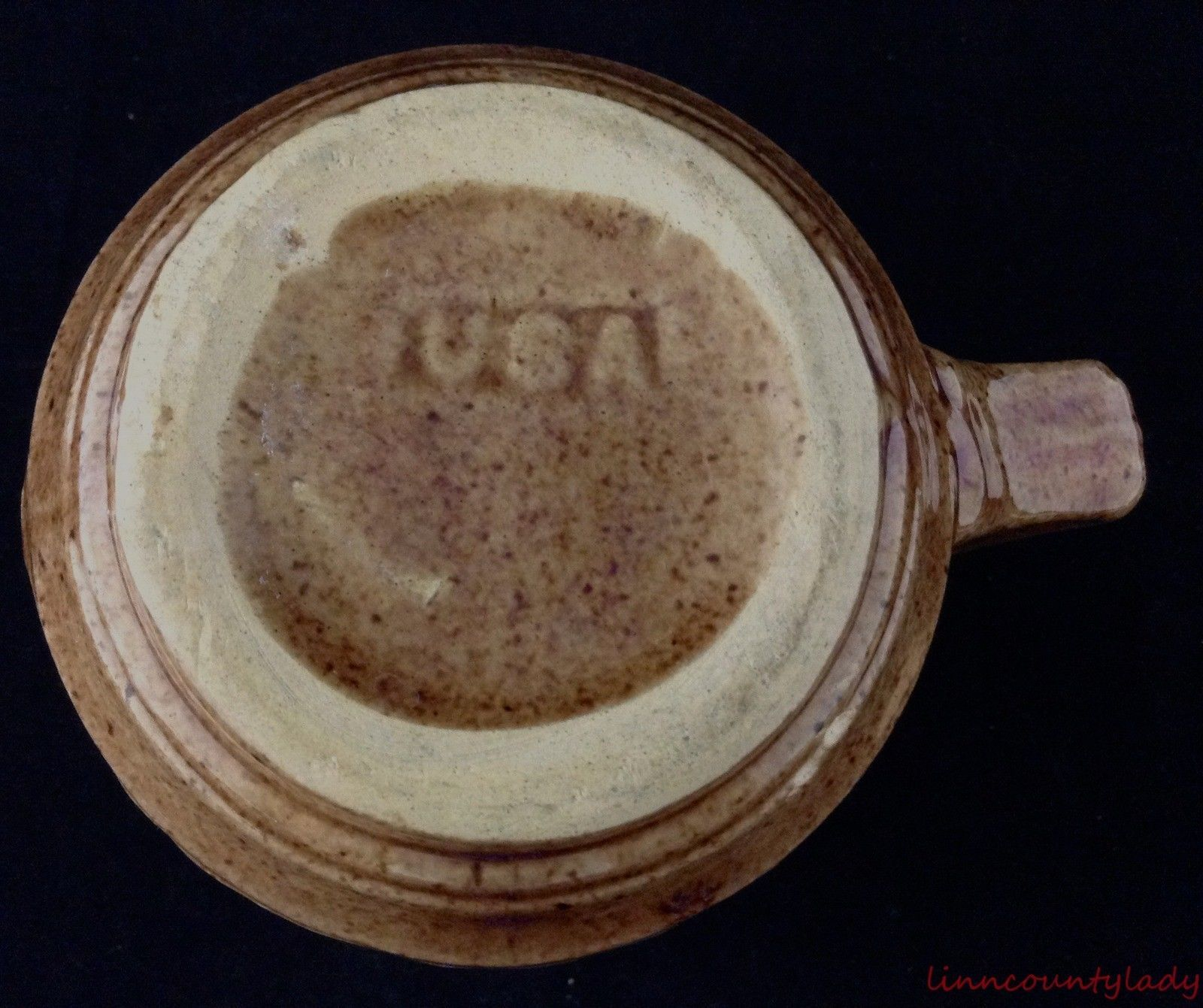 """Vtg USA Pottery Pitcher Brown Speckled Stoneware Laurel Leaf Pattern 5 3/8"""" FR S"""