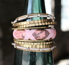 Pink Faux Snakeskin and Gold 11 Piece bangle Set - $9.00