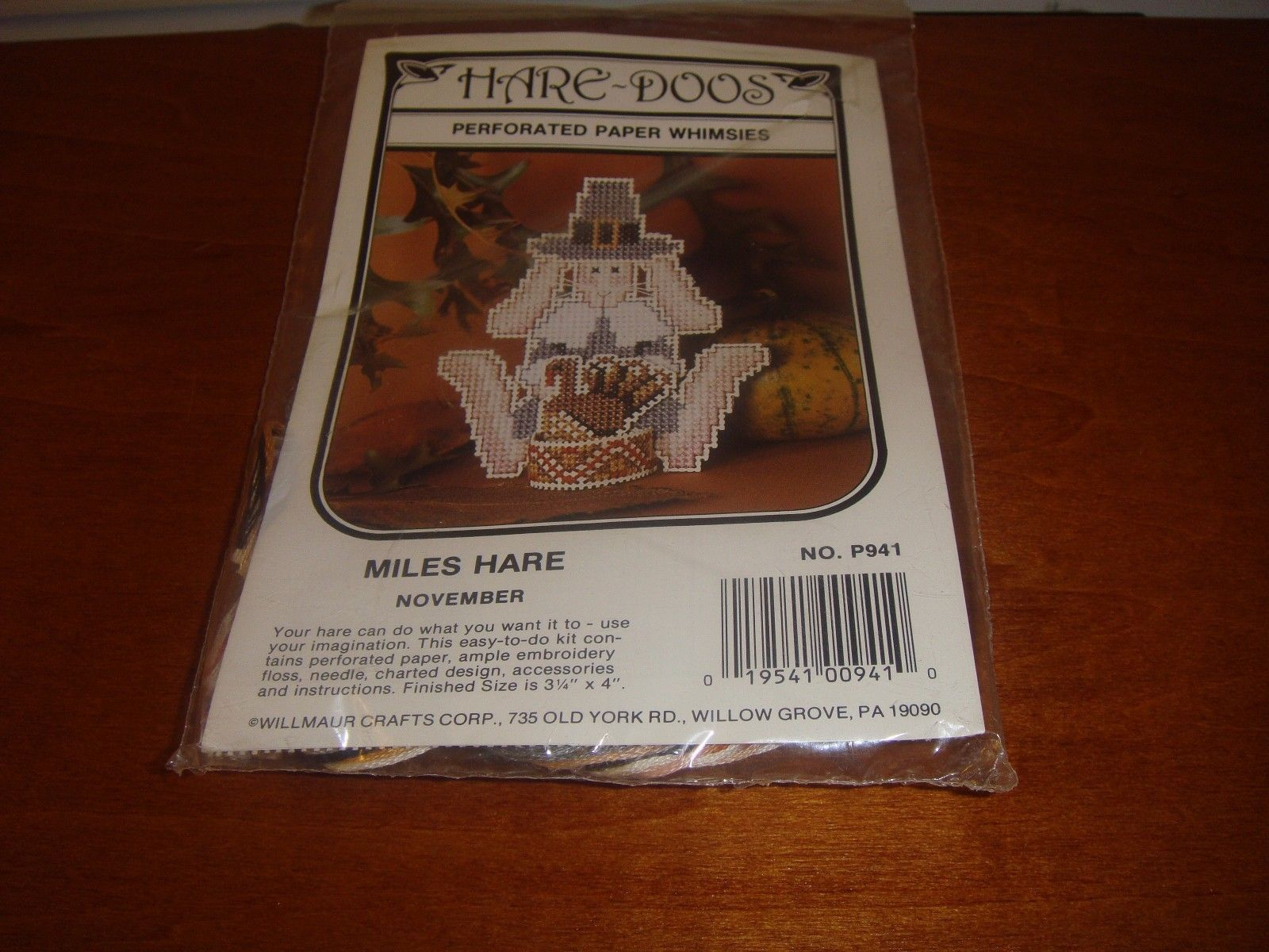 Willmaur Hare~Doos Perforated Paper Whimsies Miles Hare November Cross Stitch