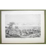 AFRICA Nigeria Market Place at Sokoto - 1858 Engraving Print - $9.57