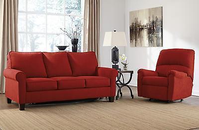 Ashley Zeth Fabric Full Size Sleeper Sofa Set 2pcs in Crimson Contemporary Style