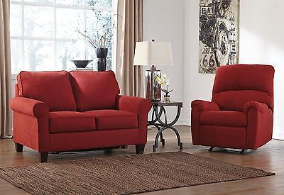 Ashley Zeth Fabric Twin Size Sleeper Sofa Set 2pcs in Crimson Contemporary Style