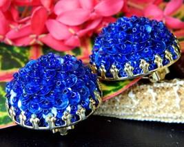 Vintage Sequins Cluster Earrings Cobalt Blue Button Dome Clips Gold  - $15.95
