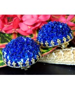 Vintage Sequins Cluster Earrings Cobalt Blue Button Dome Clips Gold  - $15.95
