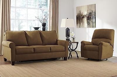Ashley Zeth Fabric Full Size Sleeper Sofa Set 2pcs in Basil Contemporary Style