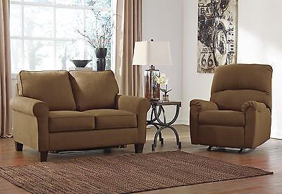 Ashley Zeth Fabric Twin Size Sleeper Sofa Set 2pcs in Twin Contemporary Style