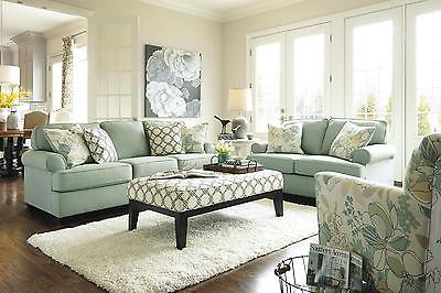 Ashley Daystar Living Room Set 3pcs in Seafoam Upholstery Fabric Contemporary