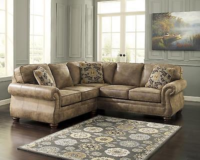 Ashley Larkinhurst Living Room Sectional 2pcs in Earth Traditional Left Facing