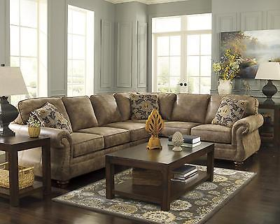 Ashley Larkinhurst Living Room Sectional 3pcs in Earth Traditional Left Facing