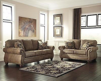 Ashley Larkinhurst Living Room Set 2pcs in Earth Upholstery Fabric Traditional